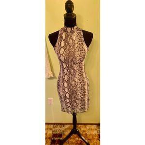 Windsor Snakeskin Mock Neck Bodycon Dress